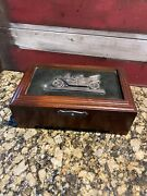 Vintage Menand039s Wooden Jewelry Box Ford Model T Inlay W/am Radio