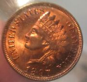Unc 1897 Indian Head Cent Beautiful Red Color With Tones And High Luster