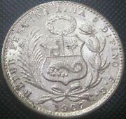 Only 500k Mint 1907 Peru F.g. 1 Dinero Km204.2 - Silver Coin