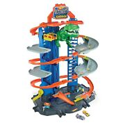 Hot Wheels City Ultimate Garage Playset With 2 Toy Cars And Robo-dinosaur Gjl14