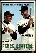 1967 Topps 423 Willie Mays / Willie Mccovey - Fence Busters Giants 4 - Vg/ex