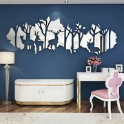 Wall Deer Forest Mirror Acrylic 3d Home Stickers Decor Art Sticker Room Personal