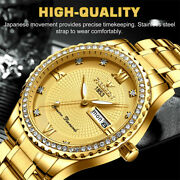 Waterproof Gold Menand039s Watch Classic Stainless Steel Quartz Diamond Business Gift