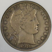1911-d Barber Half Dollar 50c Anacs Certified Vf35 Old Small Holder