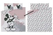 Trendy Disney Mickey Mouse Double Duvet Cover Set Pink Grey Bedding