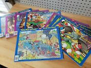 Vintage Lot Of 9 Jaymar Inlaid Tray Puzzles Disney Mickey Mouse Bambi Donald
