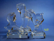 Vintage Heisey Crystal Animal Figurines 3pc Pony  Rearing, Kicking And Standing
