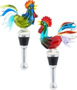 Classic Rooster Glass Art Wine Bottle Stopper Set Of 2 Poultry Barnyard Fowl