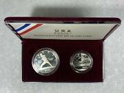 1992 U.s. Olympic Coins Two-coin Silver 1 And Clad Half Dollar Proof Set