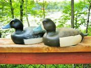 Pair Of Vintage Duck Decoys Blue Bill Drake And Hen Glass Eyes