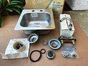 New Old Stock Federal 15x15 Stainless Steel Bar Sink With Faucet And Drain Kit