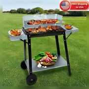 Lefroom Barbecue Charcoal Grill Rolling Standing Roast Meat Home Stainless Steel