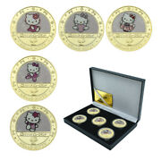 5pcs Hello Kitty Gold Plated Metal Coin Collectible Challenge Coin With Box