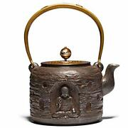 Iron Teapot Traditional Crafts Kettle Pot Cast Hand Inlay Work Silver Mouth Old