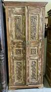 Rustic Armoire Whitewash Carved Wardrobe Cabinet Vintage Reclaimed Wood Chest