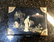 Vintage Chinese Black Lacquer Wood Jewelry Box/music Box