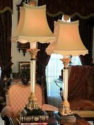 Chelsea House Lamp Pair Solid Brass Hardware And Acrylic Columns W Custom Shades