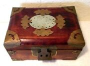 Vintage Shanghai Chinese Jewelry Box With Jade Carving And Ornate Brass Decoration