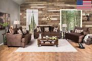 2pc Sofa Set Modern Plush Sofa Couch And Loveseat W Pillows Chocolate Made In Usa