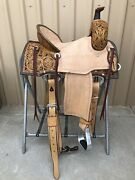 Western Brown Leather Hand Carved Ranch Cutter Saddle With Leather Strings 56