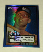 2008 Topps Chrome Blue Refractor 1952 Style Mickey Mantle Rookie Rc