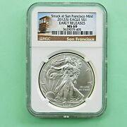 2012-s 1 Silver Eagle Struck At San Francisco Mint Ngc Early Releases Ms-69