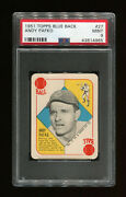Andy Pafko 1951 Topps Blue Back 27 - Psa 9 Mint - Chicago Cubs