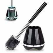 Mexerris Toilet Brush And Holder Set Stainless Steel With Soft Silicone Bristle