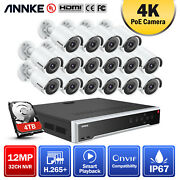 Annke 32ch 12mp Nvr 4k 8mp Poe Security Ip Camera System Bullet Oudoor Night Hdd