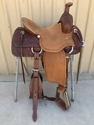 Western Brown Leather Hand Carved Ranch Cutter Saddle With Leather Strings 59