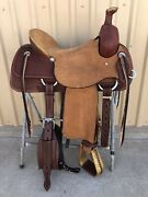 Western Brown Leather Hand Carved Ranch Cutter Saddle With Leather Strings 60