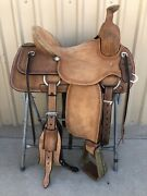 Western Brown Leather Hand Carved Ranch Cutter Saddle With Leather Strings 64