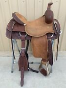 Western Brown Leather Hand Carved Ranch Cutter Saddle With Leather Strings 66