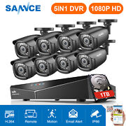 Sannce 5in1 1080n 8ch Dvr 3000tvl Outdoor 2mp Security Camera System Motion 1tb