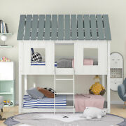 Twin Over Twin Wood Low Bunk Bed W/roofand2 Front Windowsandladder Bedroom White