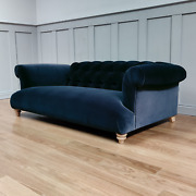 Aggy Large Two And Three Seater Navy Cotton Velvet Sofa New Rrp Andpound2299