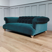 Aggy Large Two And Three Seater Petrol Cotton Velvet Sofa New Rrp Andpound2299