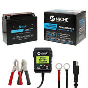 Niche Agm Battery And Charger For Can-am Kawasaki Yamaha Ytx20l-bs