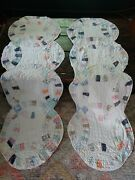 Vintage Antique Wedding Ring Quilt Table Runner Hand Stitched 19x60 Set Of 2
