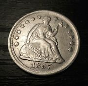 1857 Seated Liberty Silver Half Dime - Nice Coin - Free Shipping