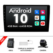 Obd+cam+carplay+2din Android 10 8core 4+64g 10.1car Stereo Gps Radio Bt Usb Dsp