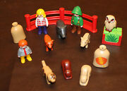 🌟playmobil Farm/animal Lot - 3 People, 2 Rabbits,fox,boar,pig,owl And More 15pc