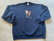 Vtg Ducks Unlimited Men's Hunting Dogs Embroidered Blue Sweatshirt Xl Usa