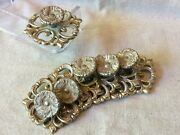 Vintage 6 Furniture Cabinet Knobs Pulls W/ Backplates And Mounting Screws Ornate