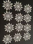 12 Glitter Snowflakes Christmas Tree Ornaments White Holiday Frozen