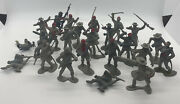 24 Vintage 1960's Marx Blue And Gray Civil War Playset Confederate Soldiers Set