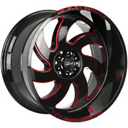 4-off-road Monster M07 22x12 6x5.5 -44mm Black/milled/red Wheels Rims 22 Inch