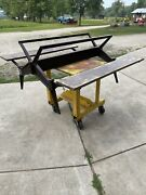 Rare Antique Cast Iron Industrial Swing Stool Dining Table