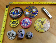 Lot Of Vintage Rare Grateful Dead Buttons Pins And Bottle Opener 9 Pieces Band