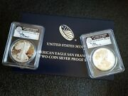 2012 S Silver Eagle Two Coin Proof Set Pcgs Pr70/pr70 Dcam Fs- Mercanti Signed